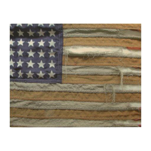 Tattered american flag wood wall art zazzle American flag wood wall art