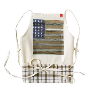 Tattered American Flag Zazzle HEART Apron