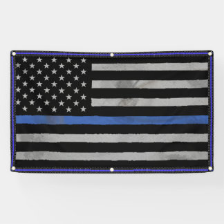 Tattered Distressed Thin Blue Line Flag Banner