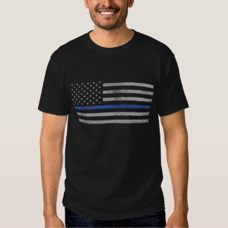 Tattered Distressed Thin Blue Line Flag Tee Shirt