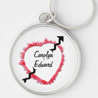 Tattered Edge Red Heart Outline & Arrow Template Keychain