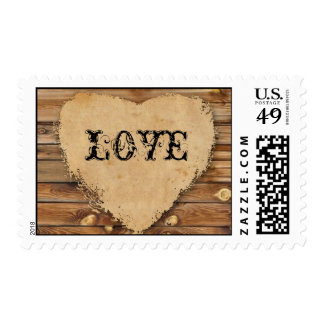 Tattered Heart Wood Look Love Stamp