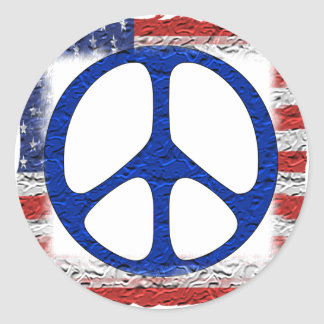 Tattered Peace Flag Classic Round Sticker