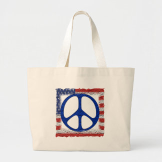 Tattered Peace Flag Large Tote Bag