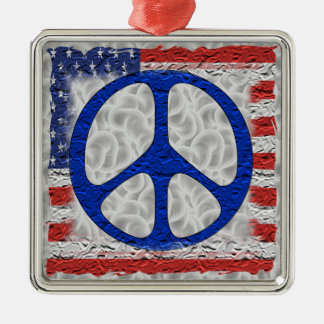 Tattered Peace Flag Metal Ornament