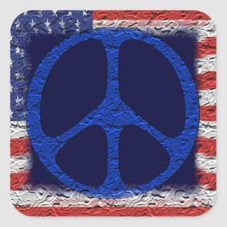 Tattered Peace Flag Square Sticker
