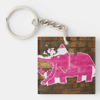 Tattered Pink Elephant Keychain