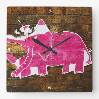 Tattered Pink Elephant Square Wall Clock