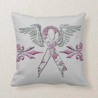 tattered pink ribbon and wings pillow