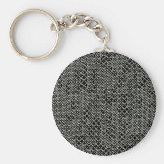 Tattered Silver Medieval Chainmail Armour Texture Keychain