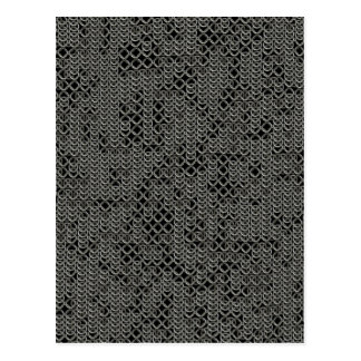 Tattered Silver Medieval Chainmail Armour Texture Postcard