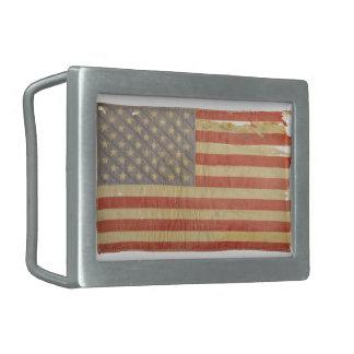 Tattered US Flag Oval Belt Buckle