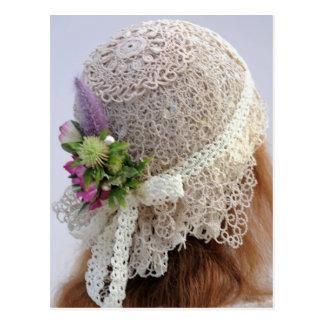 Tatting & Lace Flapper Wedding Hat Postcard
