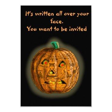 Halloween Themed TATTO PUMKIN FUNNY FACE by Slipperywindow Card