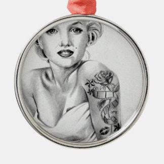 tattoe pin up round metal christmas ornament