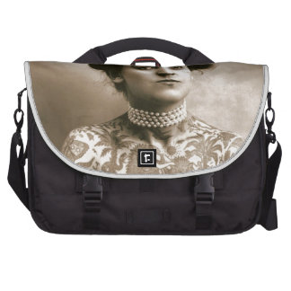 Tattoed With Pearls, Victorian Circus Photo Laptop Messenger Bag