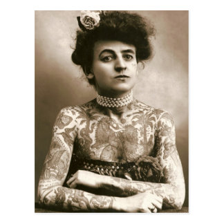 Tattoed With Pearls, Victorian Circus Photo Postcard