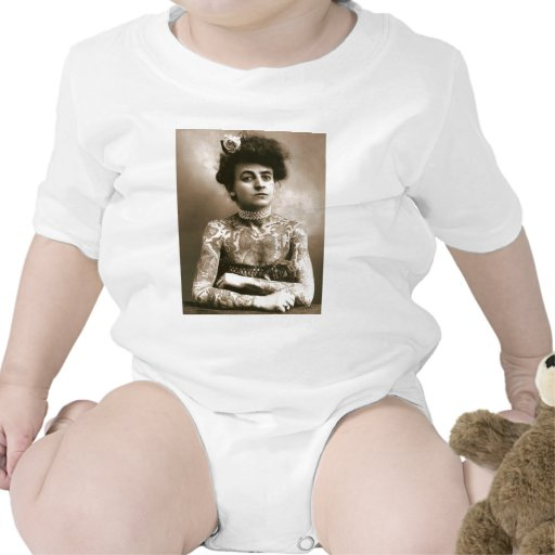 Tattoed With Pearls, Victorian Circus Photo Baby Bodysuit