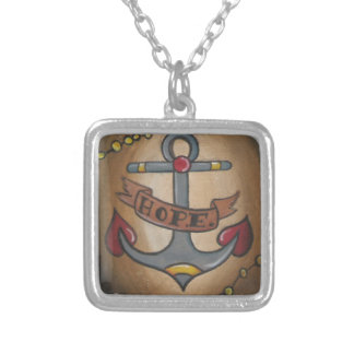 Tattoo Anchor Square Pendant Necklace