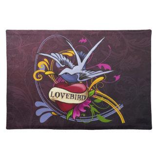 Tattoo Art Lovebird Cloth Placemat
