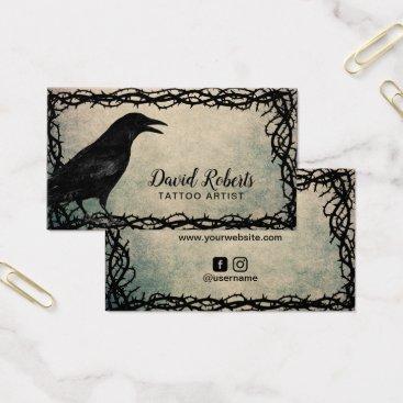 cardfactory Tattoo Artist Gothic Crow Thorn Frame Grunge Business Card