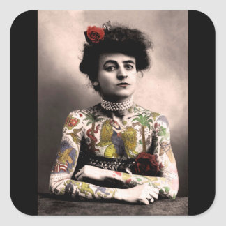 Tattoo Artist Woman Vintage Photograph Stickers