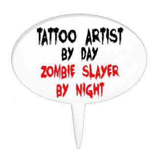 Tattoo Artist Zombie Slayer Cake Topper