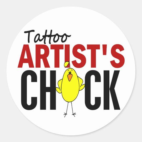 Tattoo Artist's Chick Classic Round Sticker