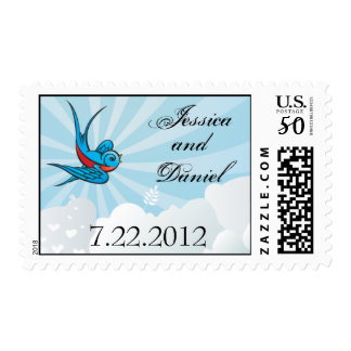 Tattoo Bird and Beams Wedding Date Stamp
