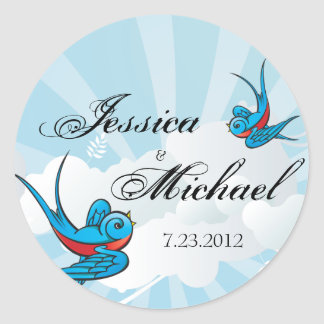 Tattoo Birds and Beams Wedding Date Label Sticker