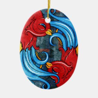 Tattoo Birds Ceramic Ornament