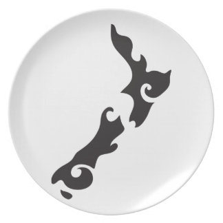 Tattoo Black version of a New Zealand map Dinner Plate