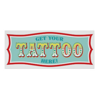 Tattoo Booth Sign for Carnival Themed Birthday BL