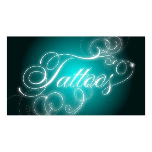 Tattoo Business Card Elegant Flourish Glow