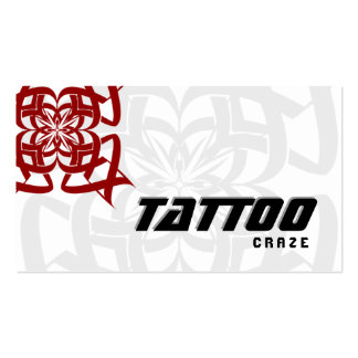 Tattoo Business Card Tribal Red White