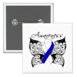 Tattoo Butterfly Awareness - ALS Disease 2 Inch Square Button
