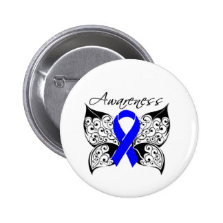 Tattoo Butterfly Awareness - Anal Cancer 2 Inch Round Button