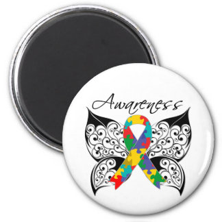 Tattoo Butterfly Awareness - Autism 2 Inch Round Magnet