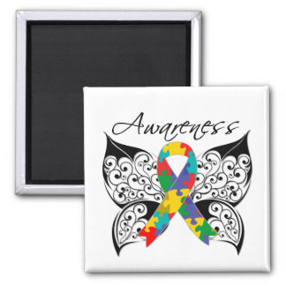 Tattoo Butterfly Awareness - Autism 2 Inch Square Magnet