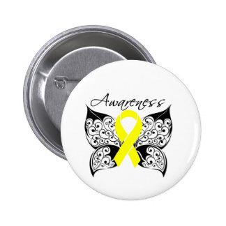 Tattoo Butterfly Awareness - Bladder Cancer 2 Inch Round Button
