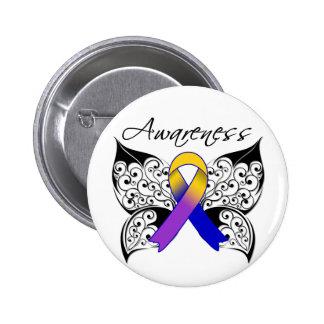Tattoo Butterfly Awareness - Bladder Cancer Pinback Button