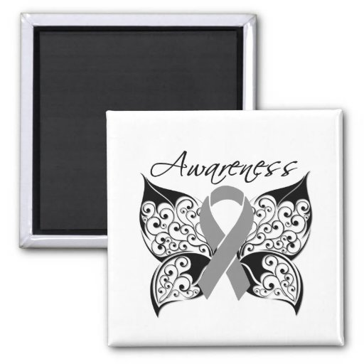 Tattoo Butterfly Awareness - Brain Cancer 2 Inch Square Magnet