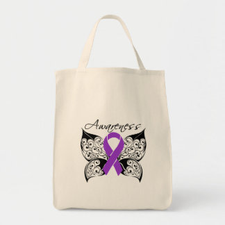 Tattoo Butterfly Awareness - Fibromyalgia Canvas Bags