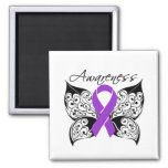 Tattoo Butterfly Awareness - Fibromyalgia 2 Inch Square Magnet