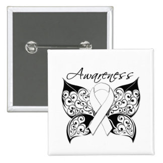Tattoo Butterfly Awareness - Lung Cancer 2 Inch Square Button