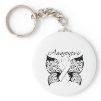 Tattoo Butterfly Awareness - Lung Cancer Keychain
