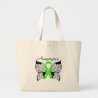 Tattoo Butterfly Awareness - Lyme Disease Large Tote Bag