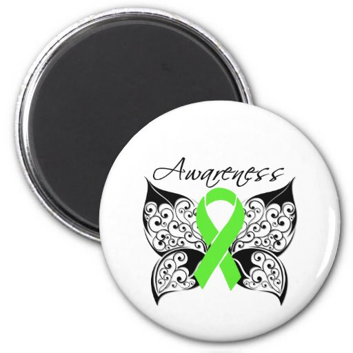 Tattoo Butterfly Awareness - Lymphoma 2 Inch Round Magnet