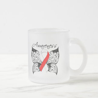 Tattoo Butterfly Awareness - Oral Cancer 10 Oz Frosted Glass Coffee Mug