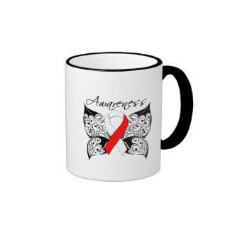 Tattoo Butterfly Awareness - Oral Cancer Ringer Coffee Mug